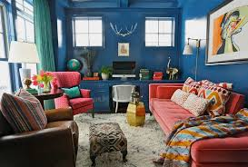 cozy home office. Cozy Home Office With Bold Use Of Colors And Vintage Pieces