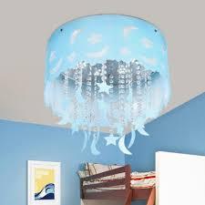 nursery chandelier moon star crystal hanging light fixture drum shade flushmount light