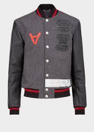 versace bauhaus appliqués varsity jacket grey print men versace jackets coats versace larger image