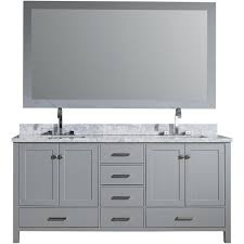 vanity in grey with carrara marble vanity top in white with