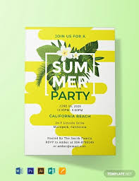 Party Invitation Template Word Free Free Summer Party Invitation Template Word Psd