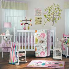cheerful uni baby room themes design with pink owl and tree wall decal decoration featuring