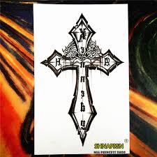 Shnapign Gotický černý Kříž Dočasné Tetování Body Art Flash Tetování