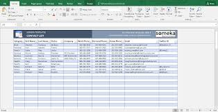 Contact List Excel Template