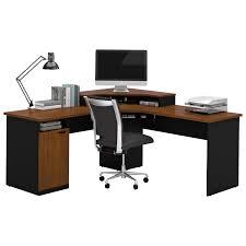 bestar hampton 1 drawer l shaped corner workstation tuscany brown black desks workstations best canada