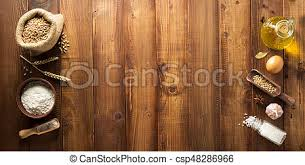 Bakery Ingredients On Wooden Background Bakery Ingredients On