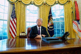 white house oval office desk. His Desk After Signing Directives To Impose Tariffs On Imported Washing Machines And Solar Panels In The Oval Office At White House Washington,