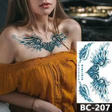 1 Sheet Chest Body Tattoo Temporary Waterproof Jewelry Heart Shaped Lock Feather Wings Pattern Decal Waist Art Tattoo Sticker