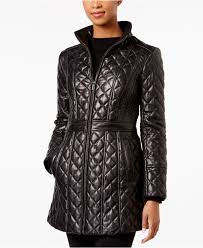 jones new york quilted leather jacket in black lyst