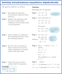 solving simultaneous equations algebraically notes