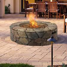 propane patio fire pit. Let Your Visitors Be Transported Into A Campsite With This Natural Rock Façade Gas Patio Fire Propane Pit -