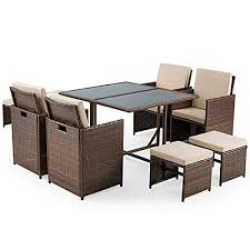erommy 9 pieces patio dining set