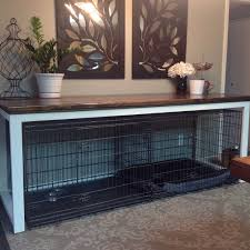 image result for dog crate below table houses intended tables plan 5
