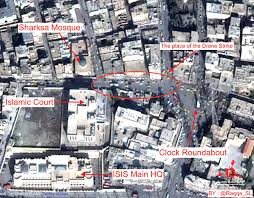 isis main office. Aerial Grab Showing Location Of Drone Stirke Which Is Reported To Have Kiled Mohammed Imwazi - Isis Main Office N