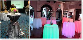 round tablecloths as cocktail table covers