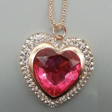 women s pink clear crystal heart pendant betsey johnson sweater necklace