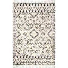 vasiliki moroccan tribal tassel off white 5 ft x 8 ft area rug