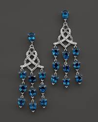 john hardy sterling silver classic chain chandelier earrings with london blue topaz and diamonds