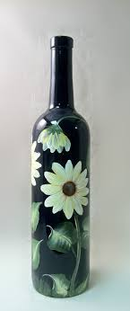Painted Wine Bottle - From Krispieskorner.com