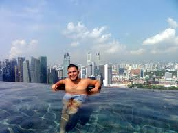 Swimming at the worlds highest infinity pool