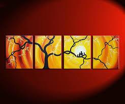 huge bird family painting bright yellow orange happy wall art love birds cherry blossoms 64x20 custom