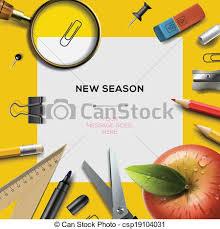 Back To School Invitation Template New School Season Template With Office Supplies New School Season