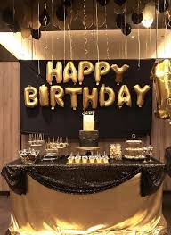 birthday decoration black and gold party ideas for s table decorations recent drawing dessert theme 0