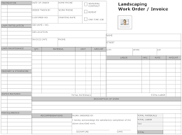 Example Image Landscaping Work Order Form Small Business Owner
