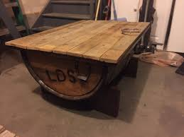 whiskey barrel coffee table ice chest beer cooler
