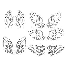 天使の羽根鳥の翼手描き風線画 ベクターイラスト素材 画2019