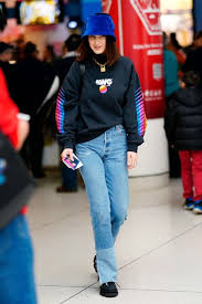 Cute winter women airport outfits ideas Plane Bella Hadid Wears Jeans And Bucket Hat To The Airport Glamour The 26 Best Celebrity Airport Outfits To Inspire You To Look Chic