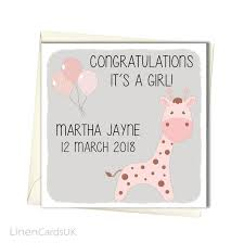 Personalised New Baby Girl Card Its A Girl Card New Etsy