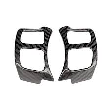 <b>QHCP 1Pair Carbon Fiber</b> Steering Wheel Button Frame Cover ...