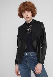 wallis petite waterfall faux leather jacket black xh94081
