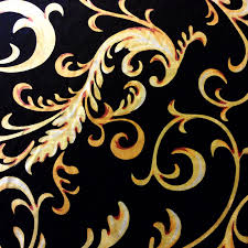 Small Picture NL052 Italian Gold and Black Velvet Scroll Damask Upholstery Home