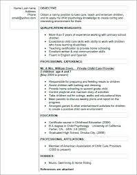 Objective For A Nanny Resume Sample Nanny Resume For Objective Daycare Skills 51