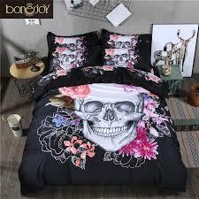 whole 3d skull bedding set queen size 3 sugar skull bedding with flower bed linen luxury housse de couette duvet cover comforters king red duvet covers