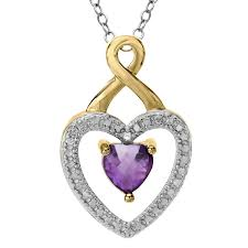 details about amethyst heart pendant with diamond in 18k gold plated brass