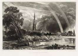 john conle david lucas salisbury cathedral from the meadows published 1855