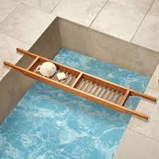 image of teak bathtub caddy long