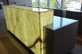 White Onyx reception desk (Levantina Dallas)