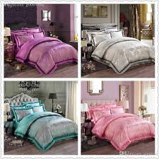 whole oriental duvet cover queen king size bright color silk satin bedding set luxury bedclothes jacquard embroidered chinese textile train bedding