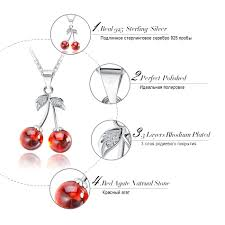 <b>ORSA JEWELS 925 Sterling</b> Silver Red Natural Stone Cherry ...
