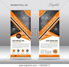 template for advertisement orange roll banner stand template vector photo bigstock