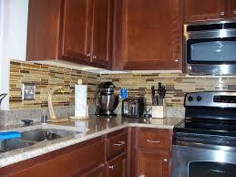 kitchen brown glass backsplash. Wonderful Brown Eciting Kitchen Decor With Glass Backsplash Mosaic Tiles Also Granite Top  And Reclaimed Wood Storage  In Brown H