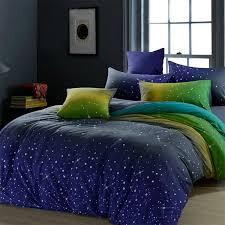 midnight blue green and yellow dark knight scene star print 100 cotton full queen