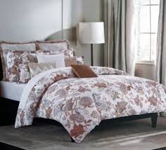 com nicole miller bedding 3 piece kng duvet cover set jacobean fl paisley pattern brown beige blue lavender gray white home kitchen