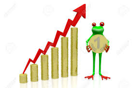3d Cartoon Frog Holding Golden Coin And Chart With Upwards Arrow