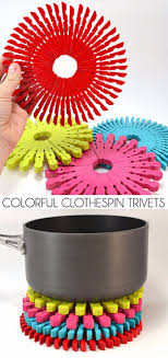Easy Crafts To Make and Sell - Colorful Clothespin Trivets - Cool Homemade  Craft Projects You