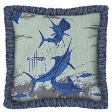 guy harvey outdoors brush fringed outdoor pillow 14in x dfohome redfish area rug